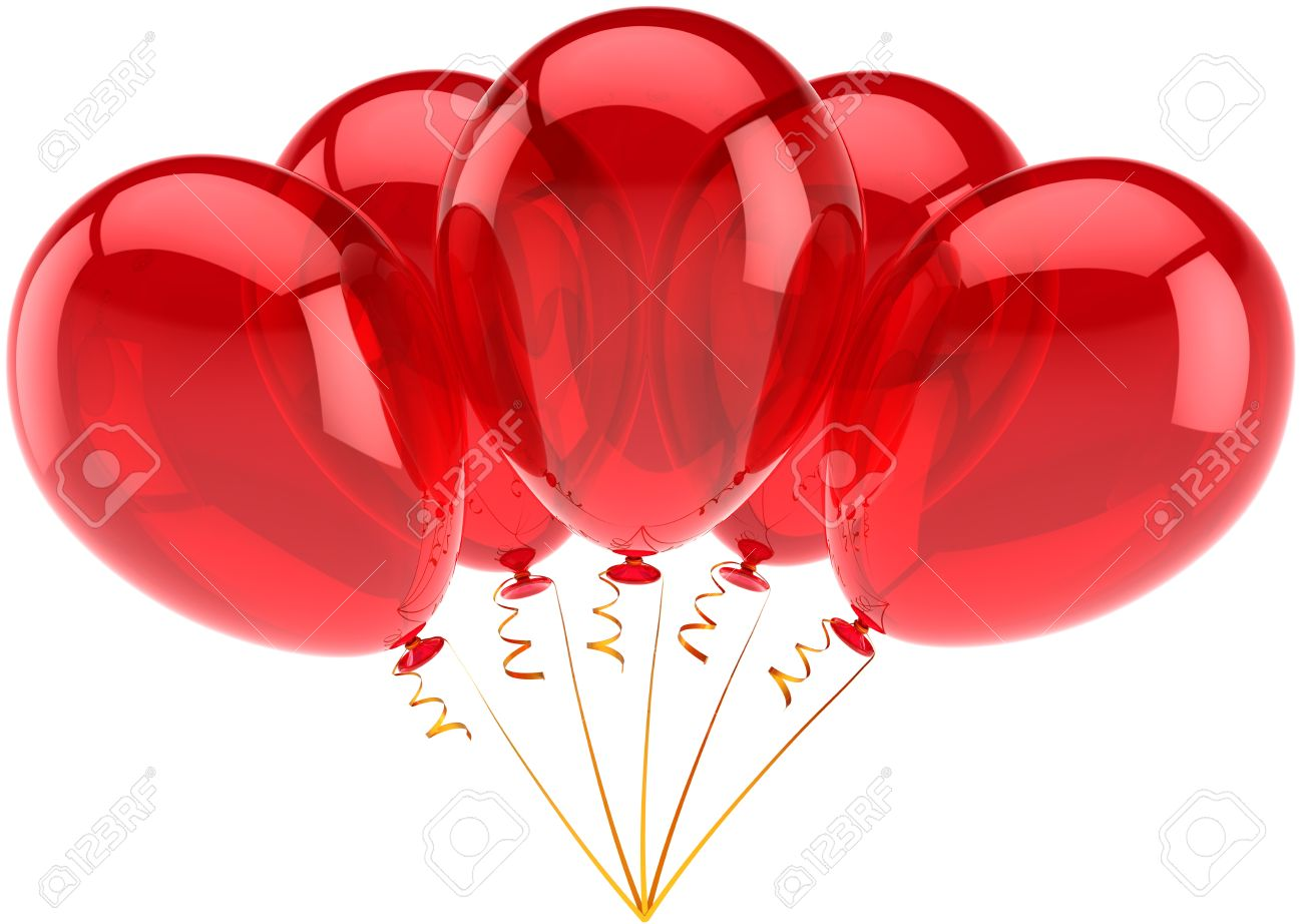 Happy Birthday Balloons Red Party Decoration Of Holiday
