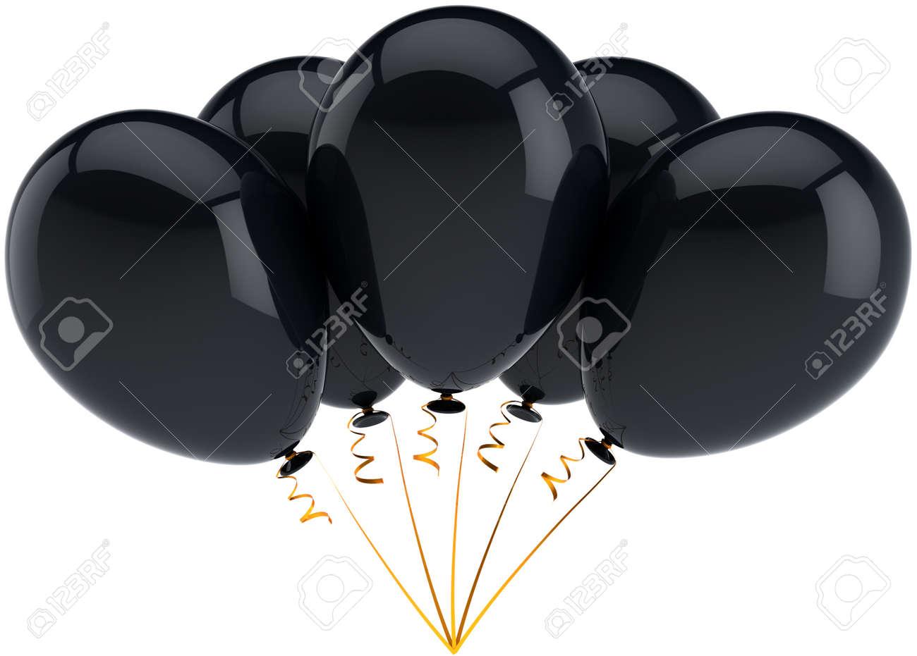 grupo de cinco globos de cumpleaos decoracin de negro dispuestos en un montn alegre felicidad