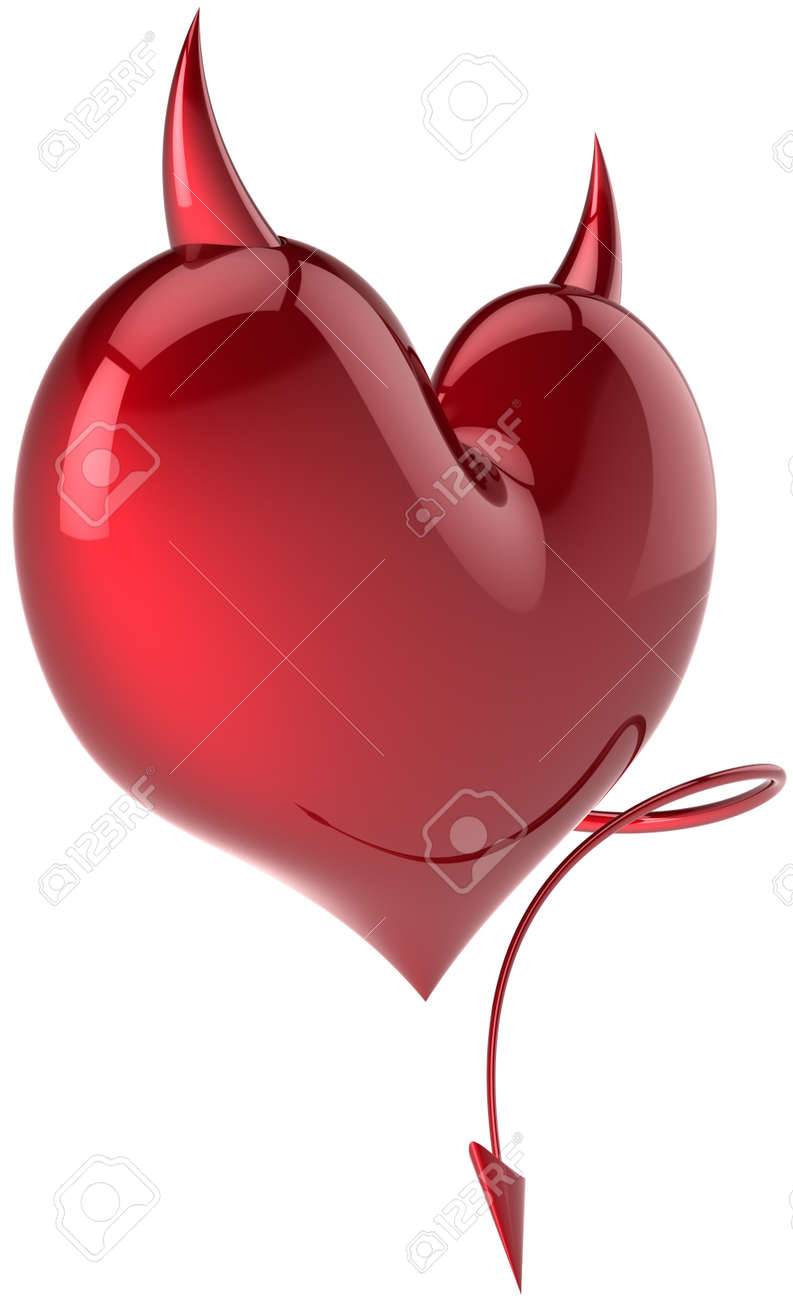 Heart shape of Devil Love passion symbol total red with horns and a tail. Demon feeling abstract. Lover trap concept. Valentine's day holiday symbol. Detailed 3d render. Isolated on white background Stock Photo - 10980018