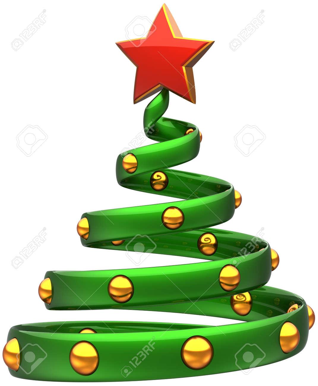 c7131fd8d75 Foto de archivo - Rbol de Navidad verde con bolas de oro y estrella roja  brillante. Chuchería Feliz Año Nuevo estilizada.