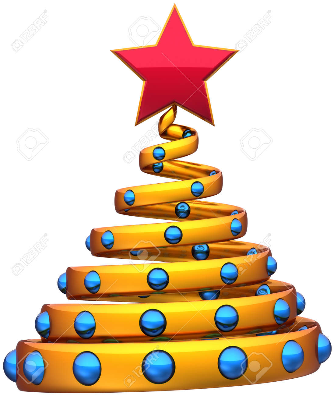 Christmas tree New Year bauble stylized golden with blue balls and red star. Beautiful wintertime symbol Xmas holidays icon concept. Detailed 3d rendering. Isolated on white background Stock Photo - 11138103
