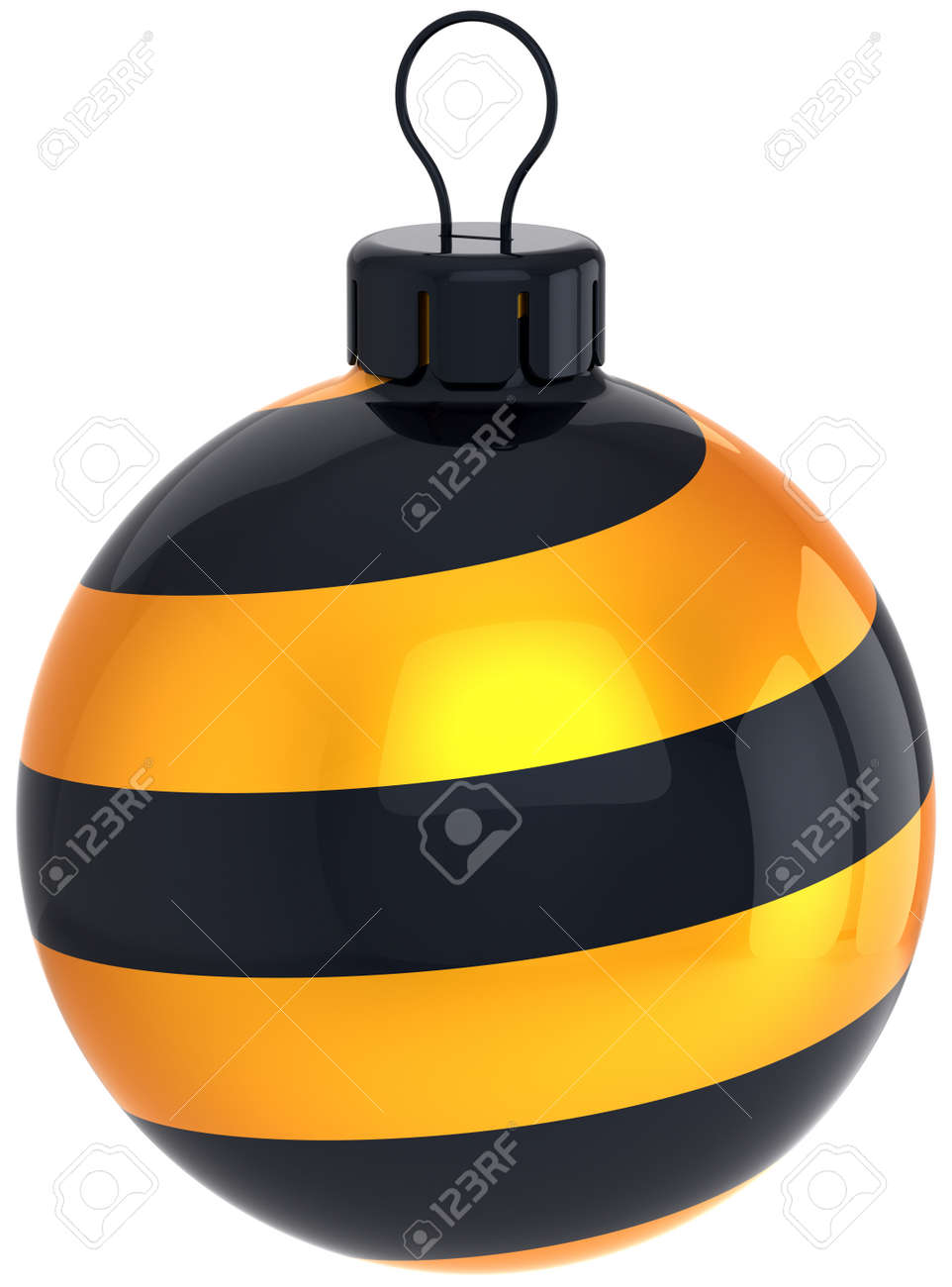 Christmas ball bauble Happy New Year stylish decoration golden black. Merry Xmas greeting card design element. Winter holiday icon concept. Detailed 3d render. Isolated on white background Stock Photo - 11270753