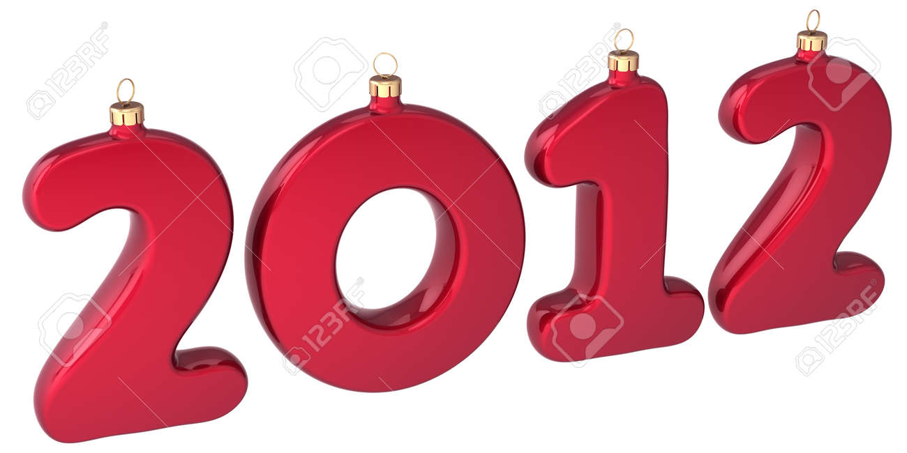 New 2012 Year baubles Christmas balls colored red in form of numbers. Traditional winter holiday decoration. Xmas greeting card design element. Detailed 3d render. Isolated on white background Stock Photo - 11450068