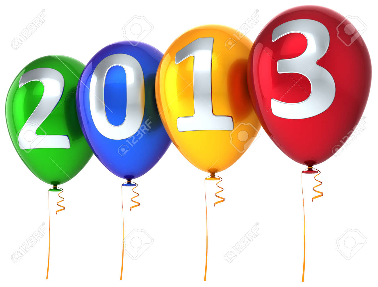 New Year 2013 balloons party celebrate decoration  New Year s Eve calendar date beautiful greeting card  Detailed 3d render Stock Photo - 16177834