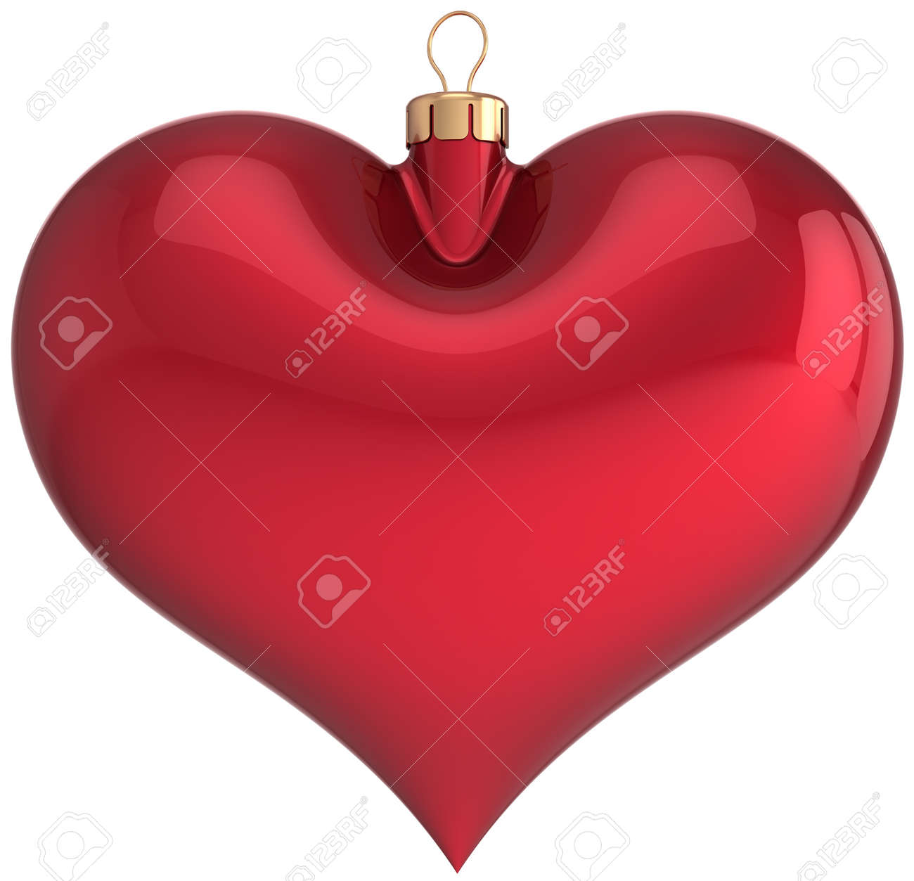 Red Christmas Ball Heart Shaped Blank Decoration Happy New Year