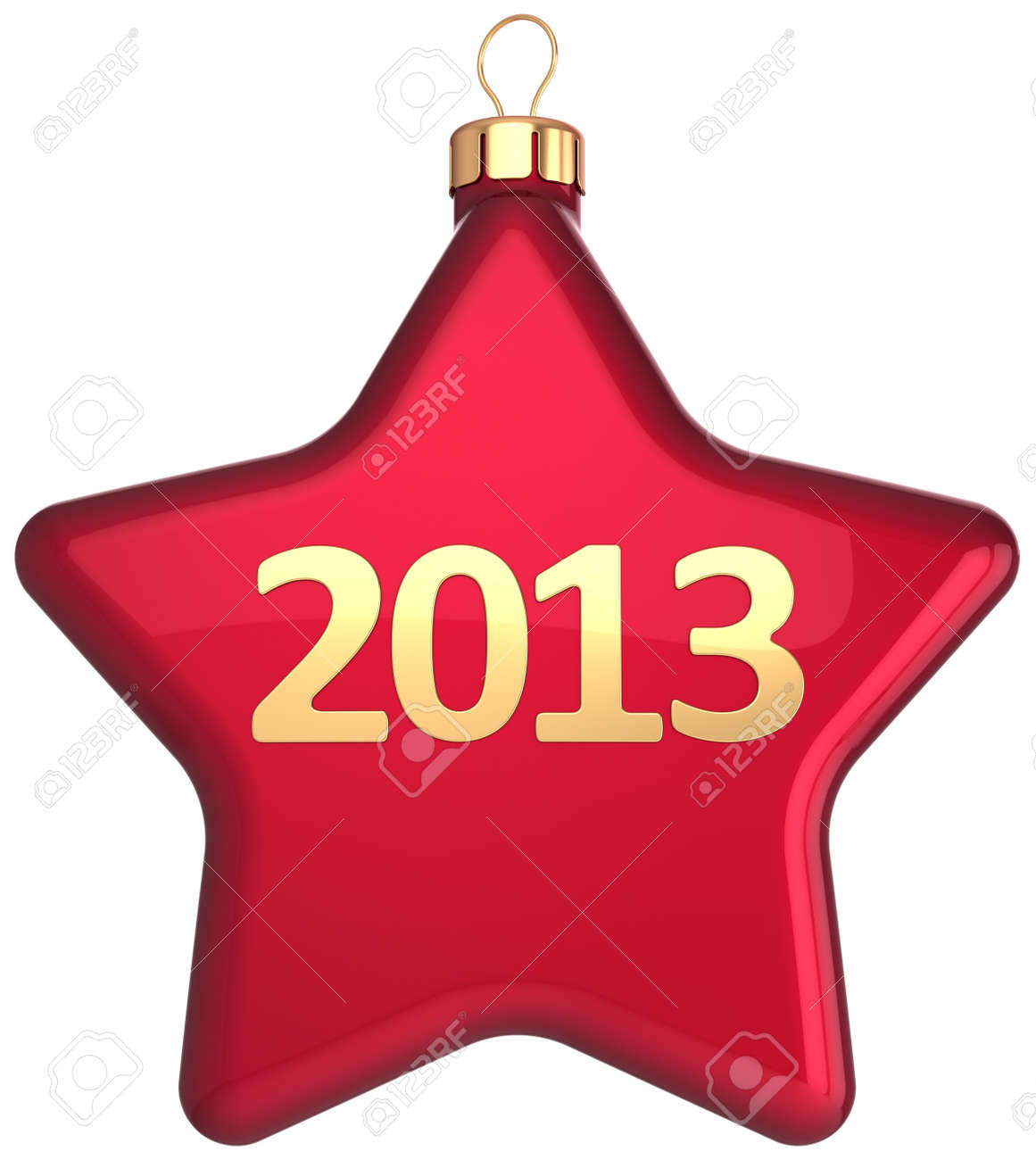 New Year 2013 Christmas ball bauble in form of red star shape decorated with gold calendar date  Winter holidays decoration  Merry Xmas greeting card  Detailed 3d render Stock Photo - 16407127