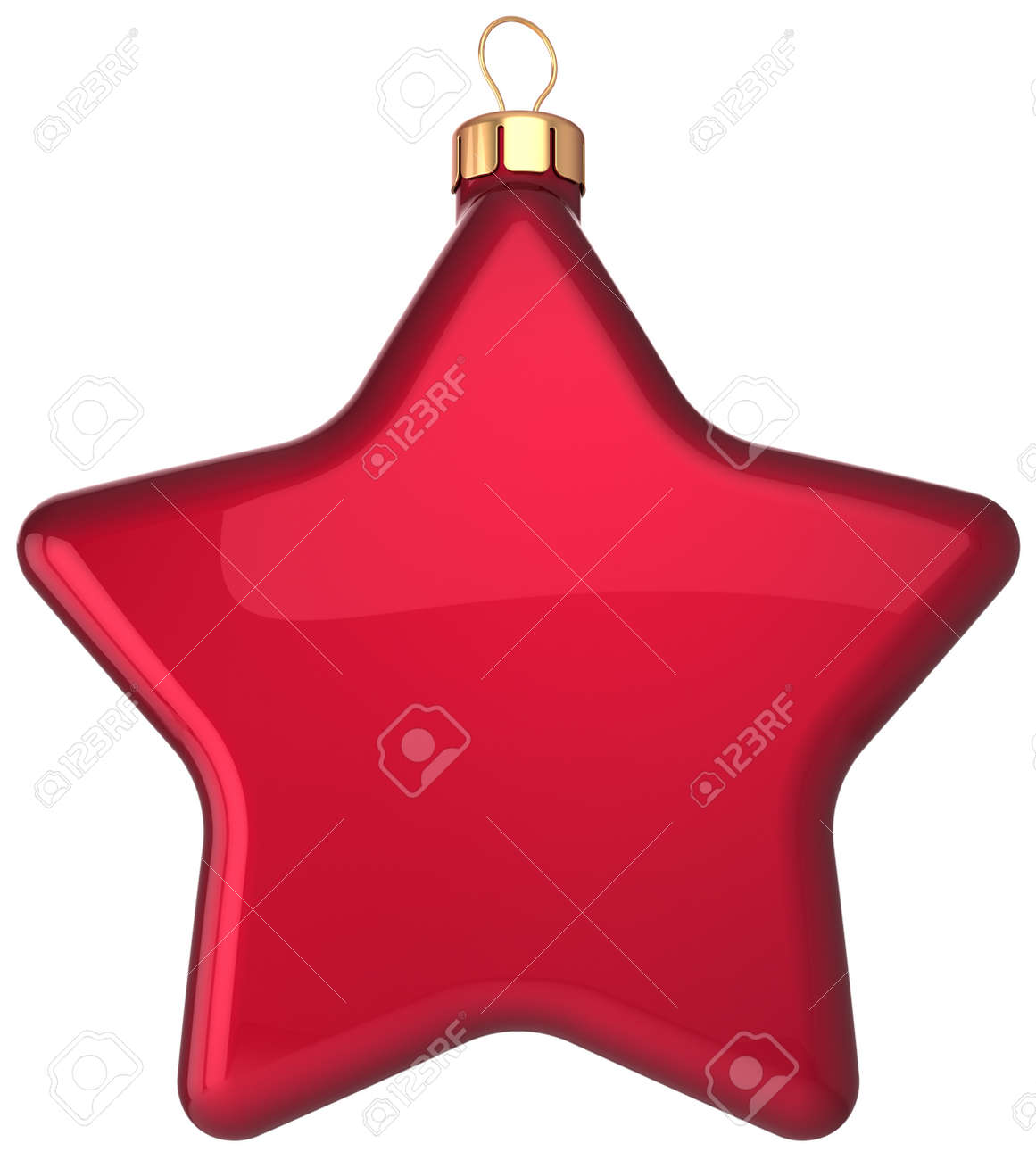 Red Christmas ball star shaped decoration Happy New Year bauble blank  Merry Xmas greeting card design element  Beautiful winter holidays icon concept  Detailed 3d render Stock Photo - 16412577