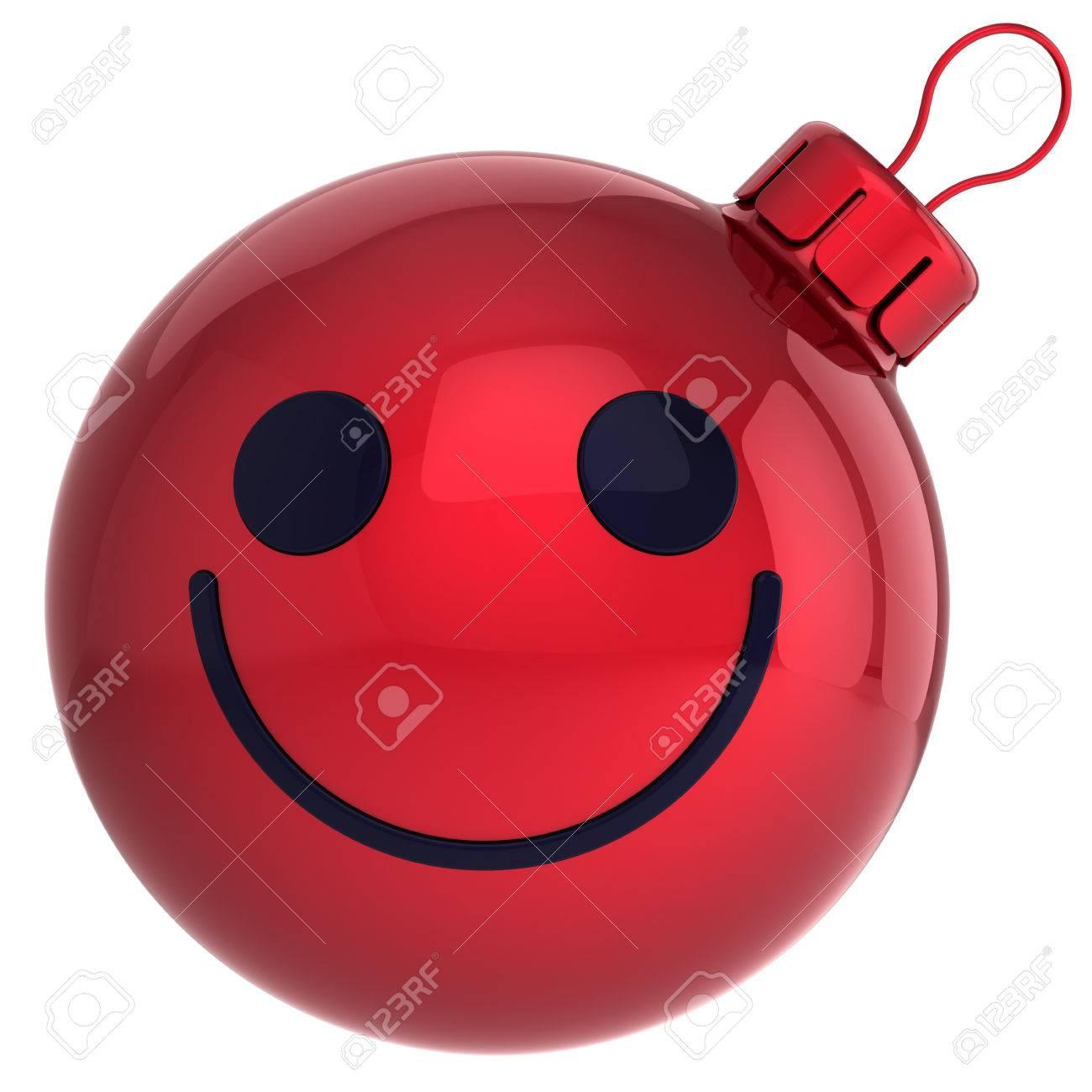 スマイル クリスマス ボール赤新年あけましておめでとうございます安ピカ笑顔顔笑顔装飾うれしそうな幸福面白いメリー クリスマス アバター冬季肯定的なアイコン の写真素材 画像素材 Image