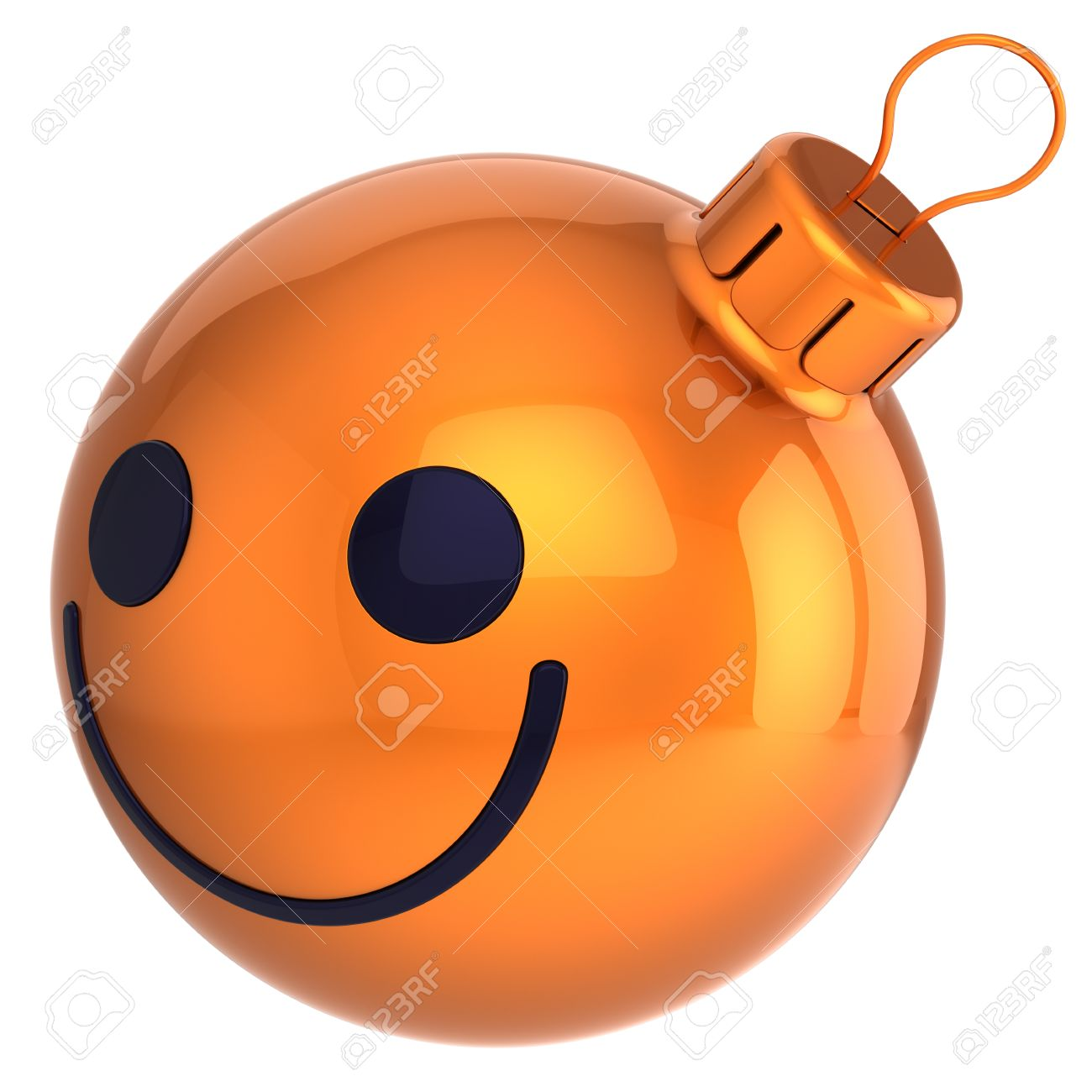 スマイル クリスマス ボール オレンジ新年あけましておめでとうございます安ピカ笑顔顔笑顔装飾うれしそうな幸福アイコン面白いメリー クリスマス アバター冬正の記号 の写真素材 画像素材 Image