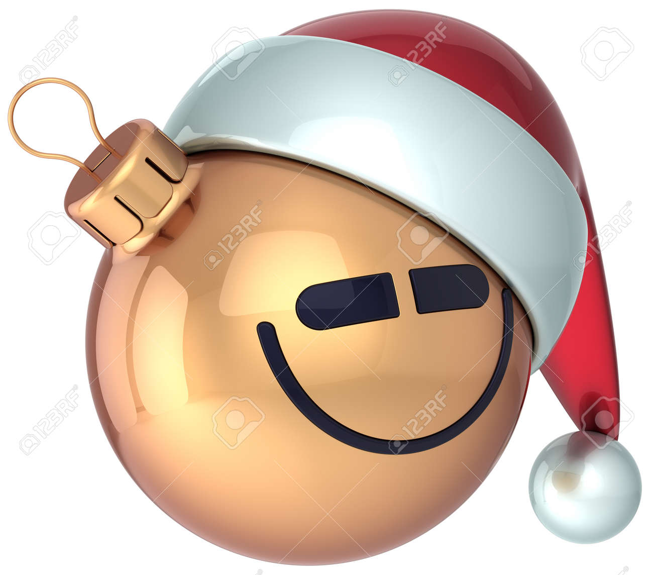 サンタ帽子アイコン装飾メリー クリスマス休日うれしそうな面白いキャラクター グッズ概念冬季アバターを笑顔笑顔クリスマス ボール金新年あけましておめでとうございます安物の宝石 の写真素材 画像素材 Image
