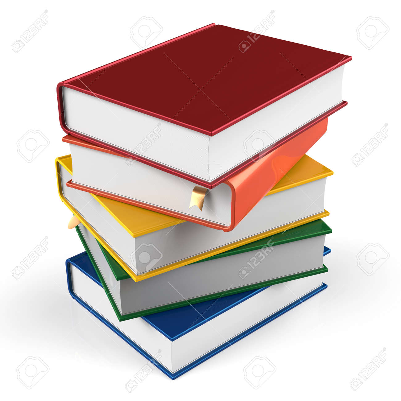 Book stack of textbooks blank hard covers colorful books bookmark school studying information content learn