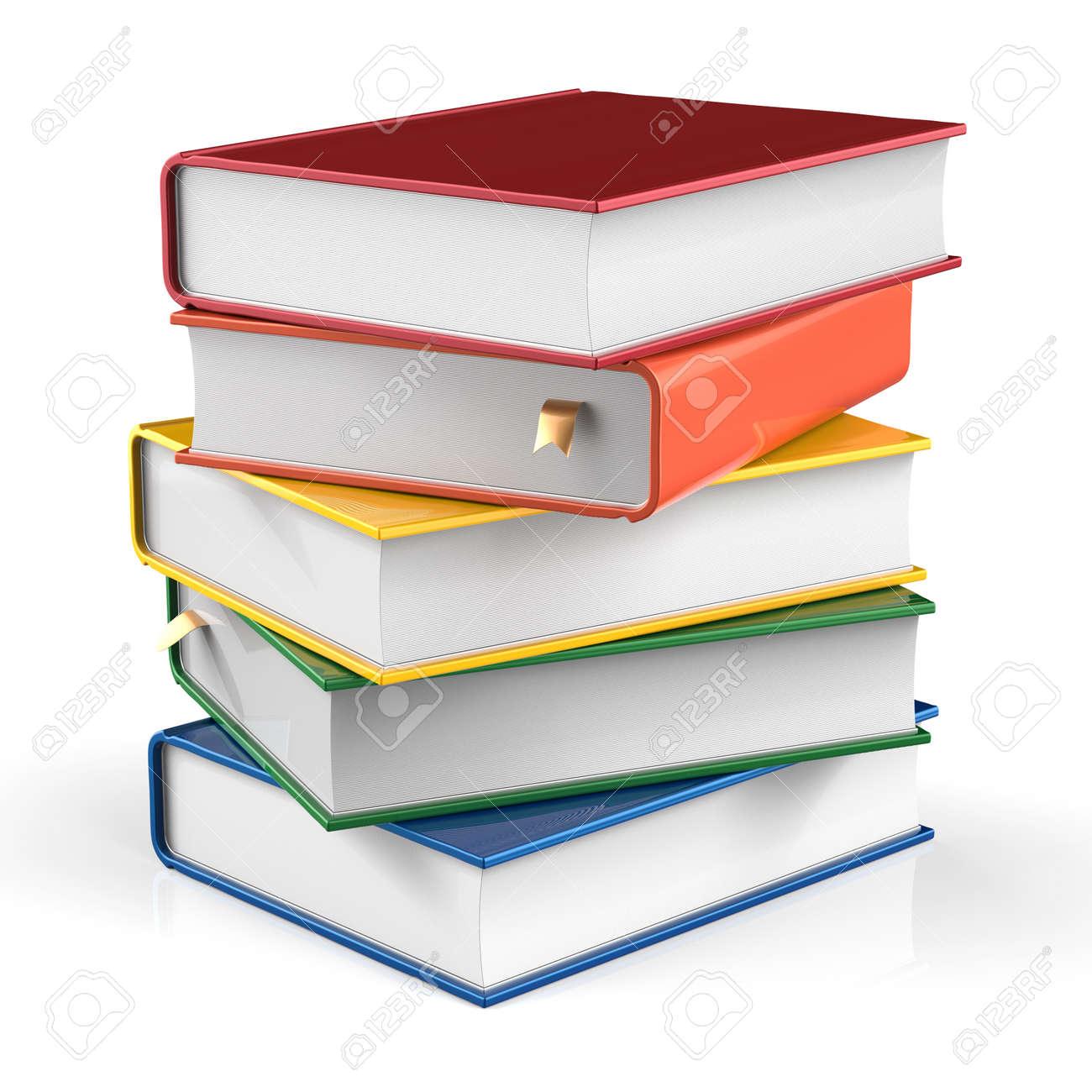 Bücherstapel zeichnung  Bücher Stapel Von Buch Deckt Bunte Lehrbuch Lesezeichen. Schule ...