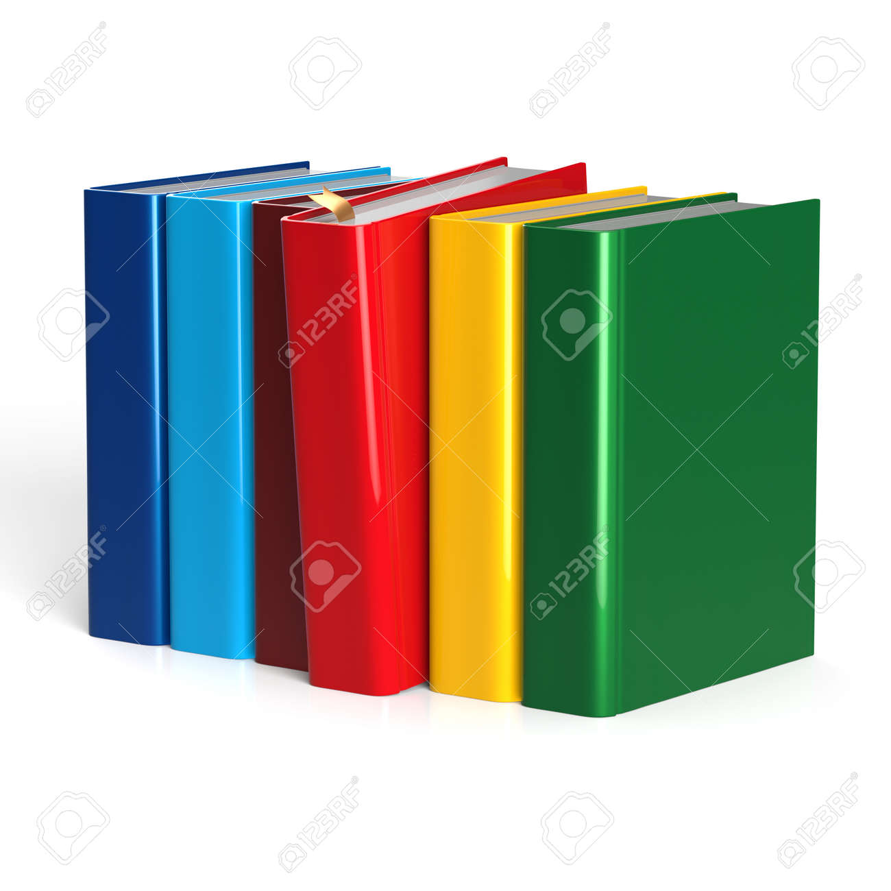 books row selecting red blank covers colorful standing textbook