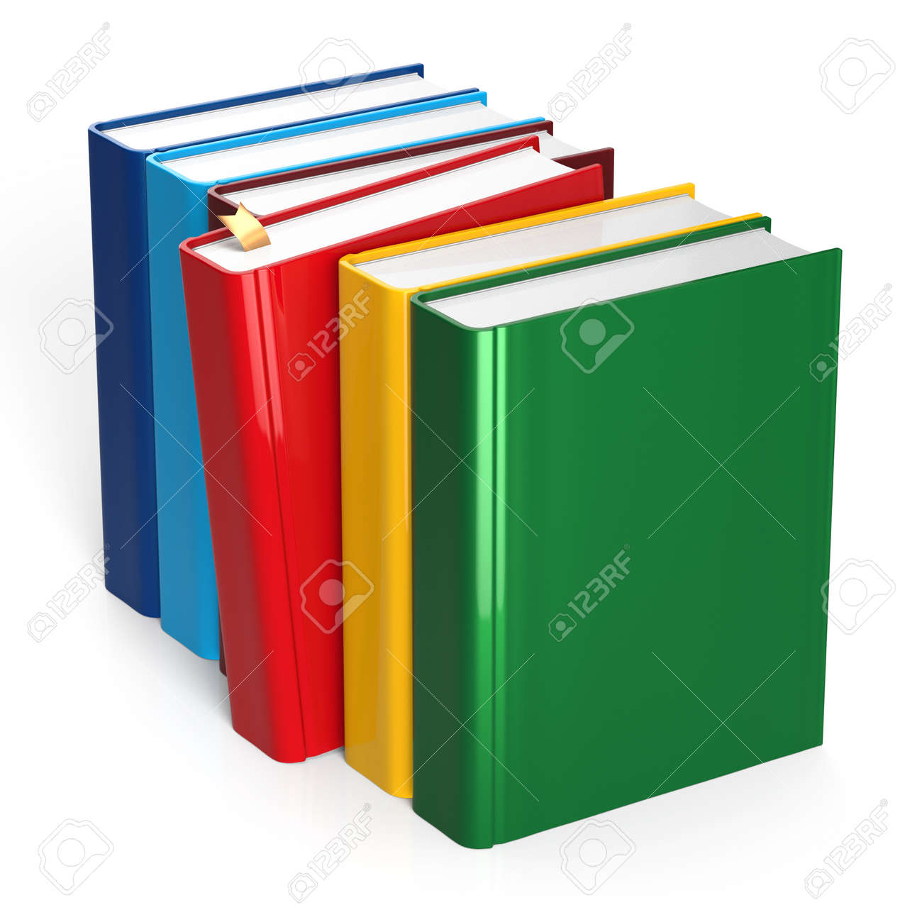 books row colorful selecting red blank covers standing textbook