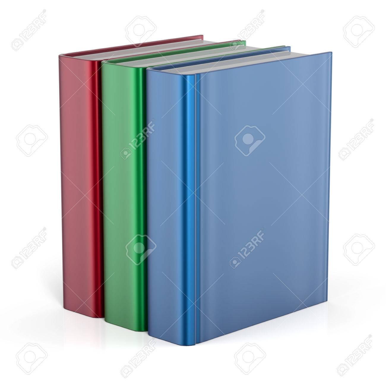 Bücher Stehen Drei Blindabdeckung Keine Etiketten Vorlage Lehrbuch ...