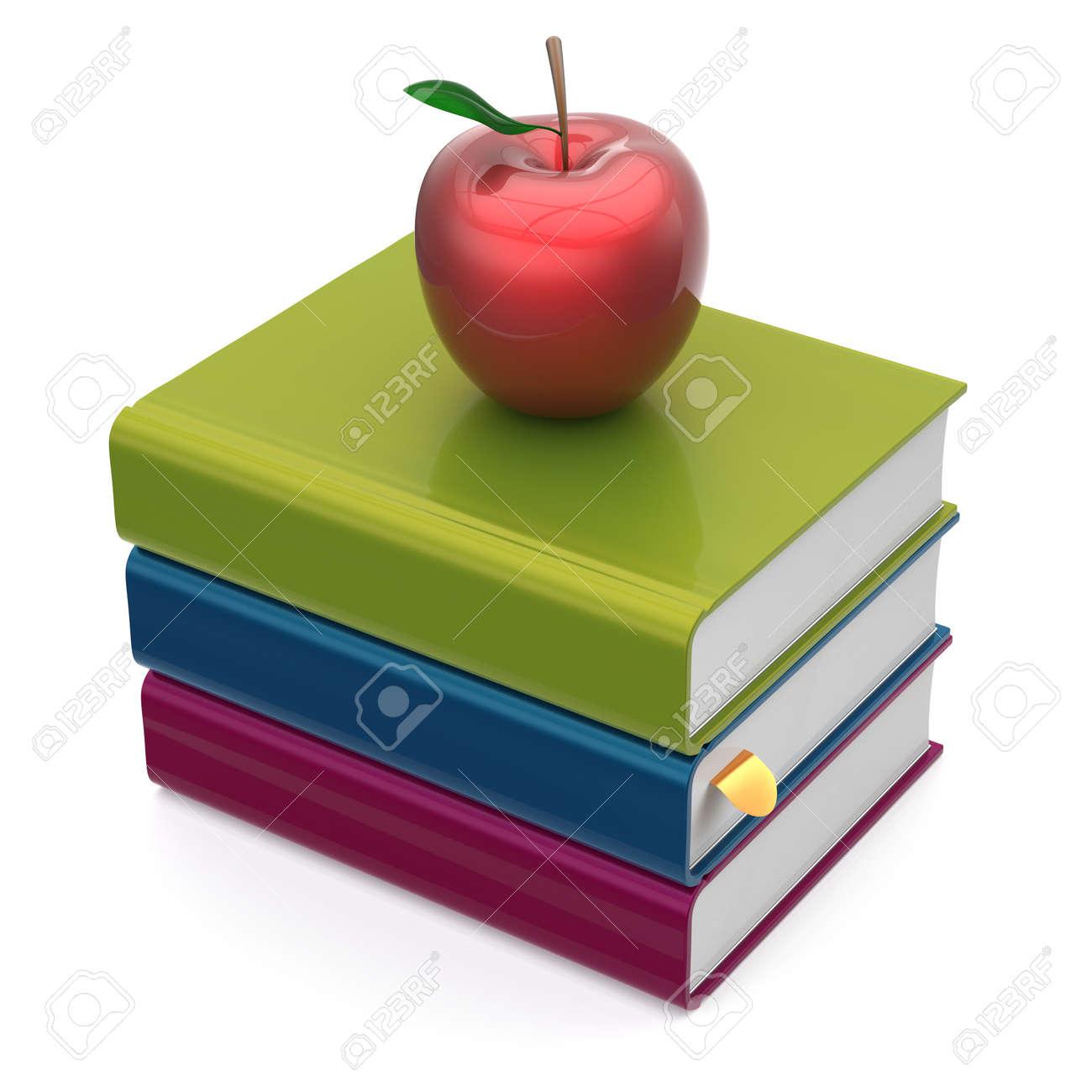 Pila De Libros Coloridos Libros De Texto Manzana Roja Educación ...