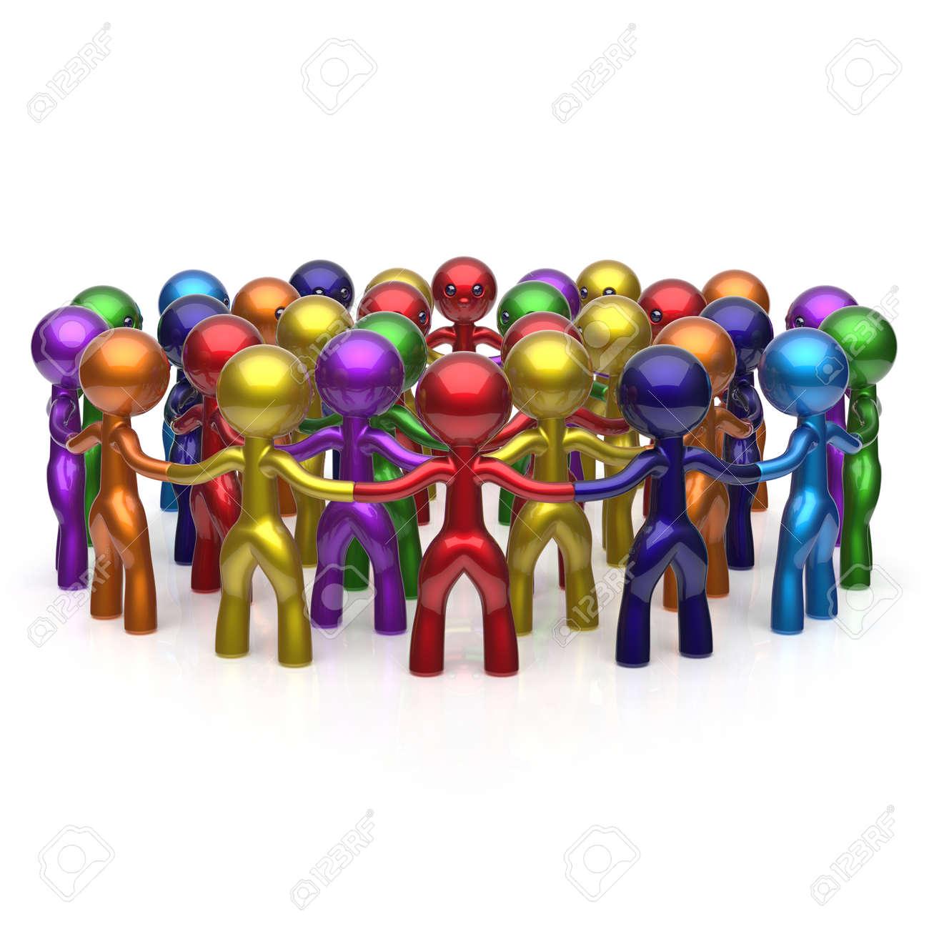 Gran Red Social De Personas En Grupo Teamwork Personajes Círculo De
