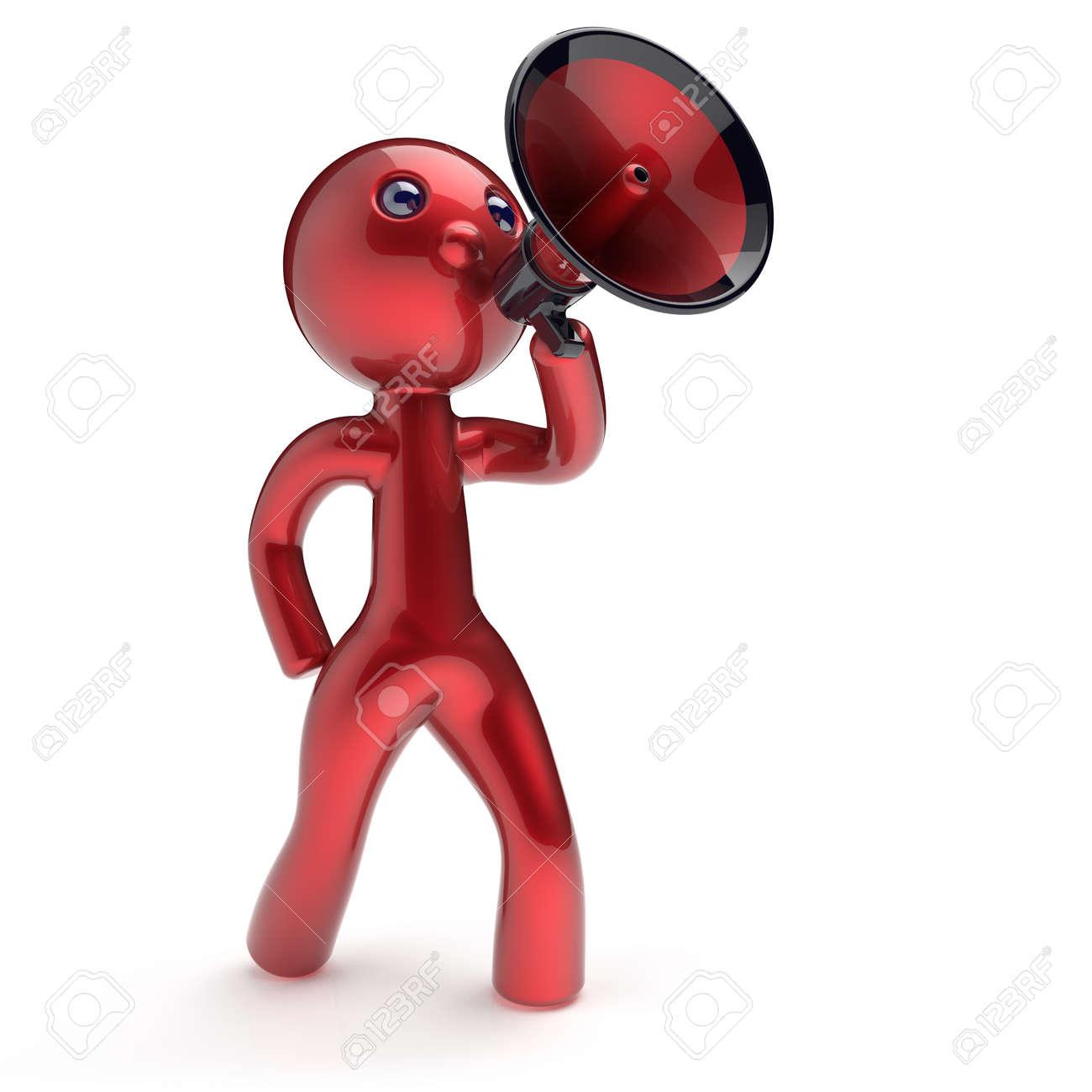 Type De Haut Parleur homme parlant caractère mégaphone faisant annonce nouvelles rouge stylisée  haut-parleurs de type dessin animé humaine communication de personne de