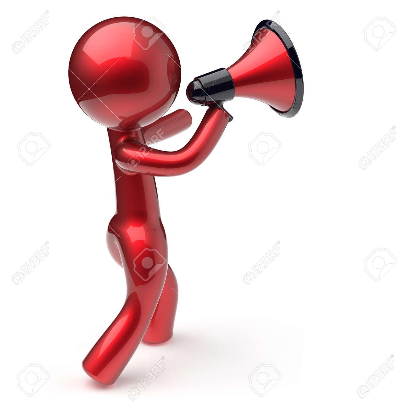 Type De Haut Parleur caractère mégaphone annonce homme parlant faisant nouvelles rouge stylisée  haut-parleurs de type dessin animé humaine communication de personne de