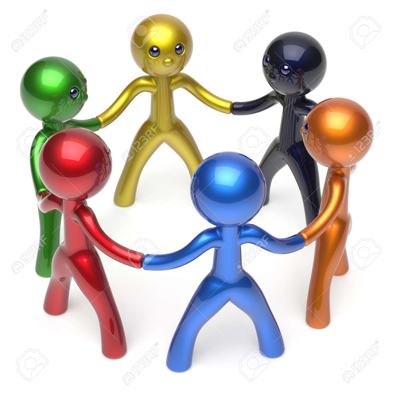 social network characters teamwork human resources circle people social network characters teamwork human resources circle people individuality friendship team six different cartoon friends unity