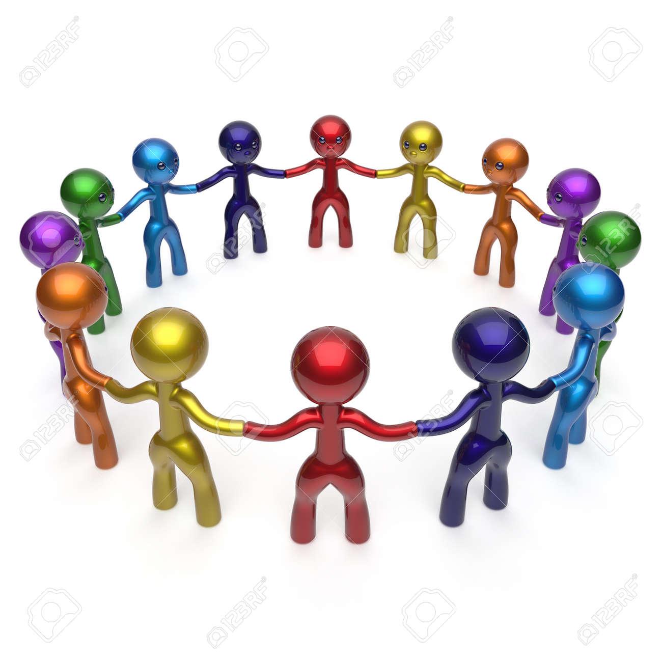 Red Social Personajes Hombres Círculo Gente Grupo Grande De Internet