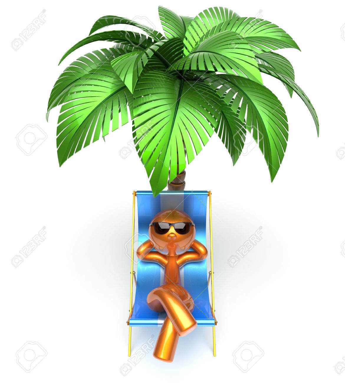 Sonnenliege clipart  Man Character Relaxing Deck Chair Palm Tree Chilling Beach ...