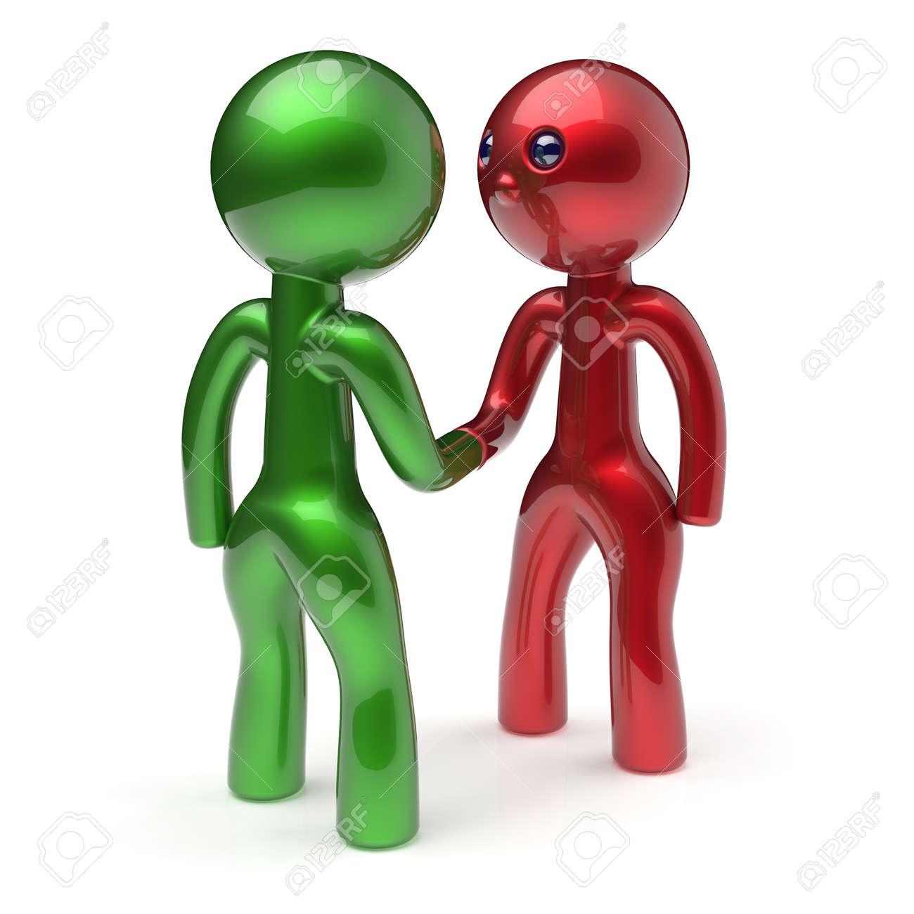 Handshake Cartoon Characters Two Men Shaking Hand Business Partners