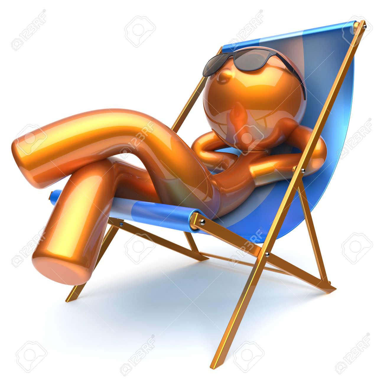 Lunettes Or De Confort Stylisé D'été Homme Soleil Détente Animé Personne Balancelle Chaise Caractère Refroidissement Dessin Des Plage Pont n0k8PwO