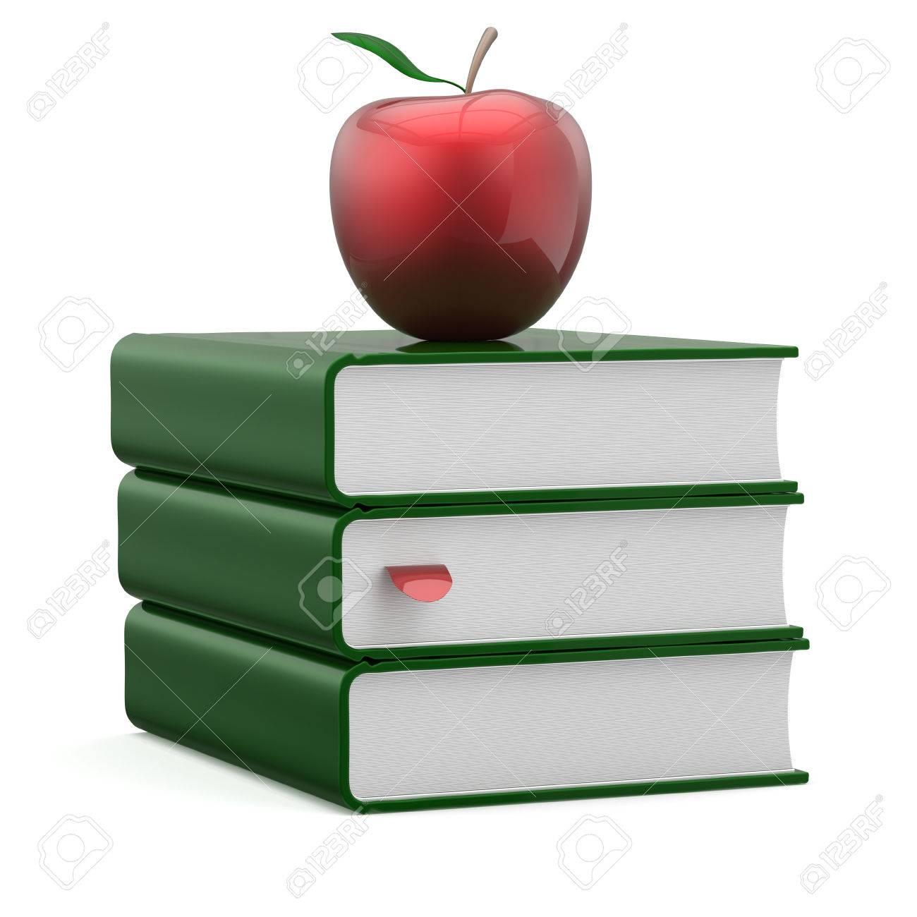 Livres Vert Couvre Livre Scolaire Pile Blank Bookmark Rouge Apple Education Etude Lecture Apprentissage Ecole Connaissance Litterature Question