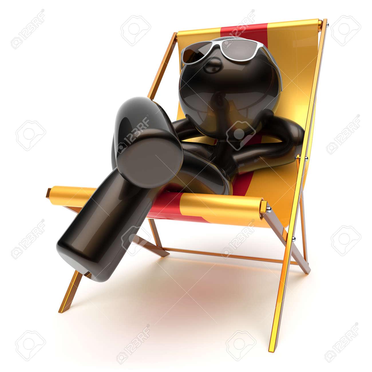 Stylisée Caractère Lunettes Coups Insouciante Pont Caricature Soleil Plage Chilling Détente Confort D'été De La Homme Chaise LAq35R4j