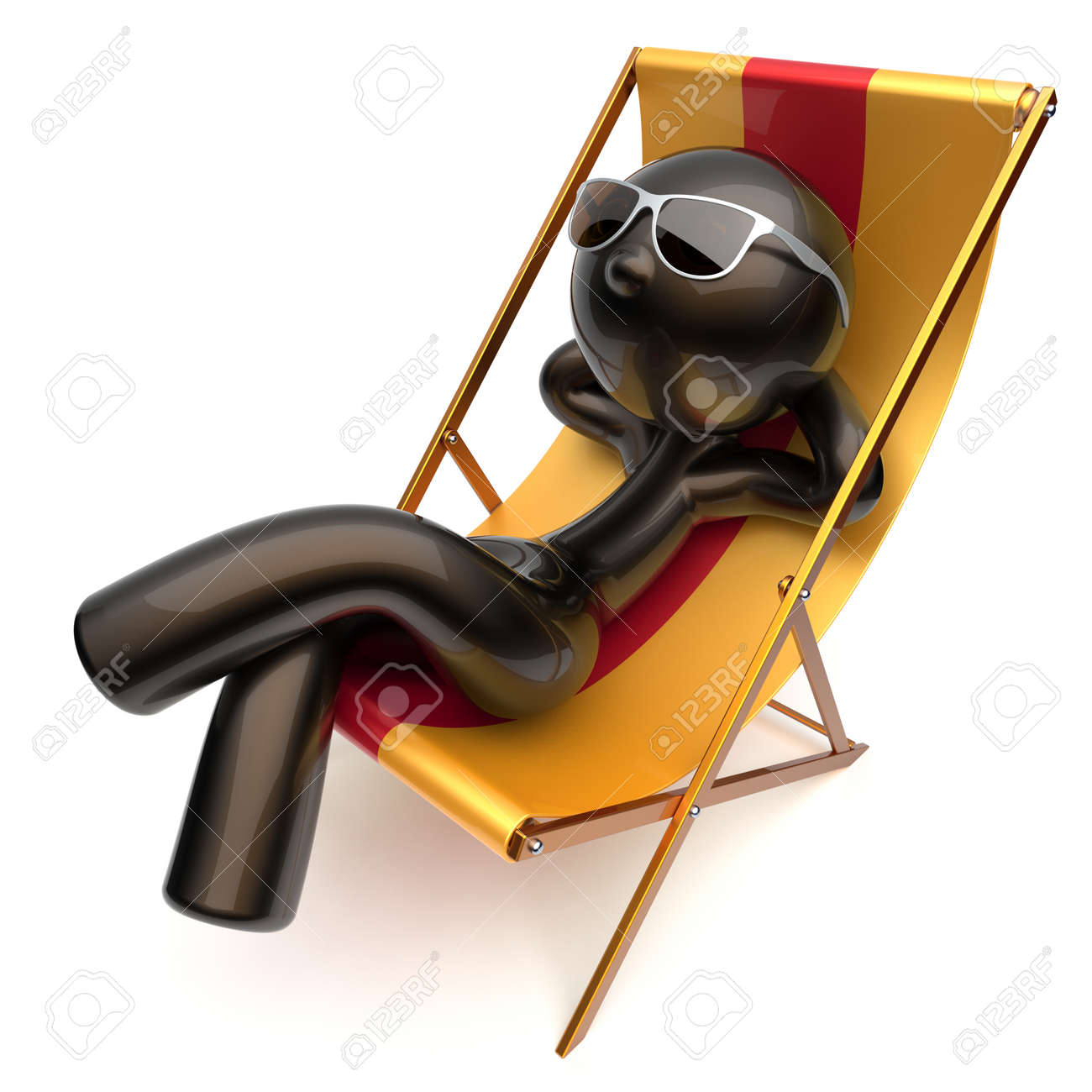 Sorglos Kühl Mann Stilisiert Strand Liegestuhl Sonnenbrille Im ...