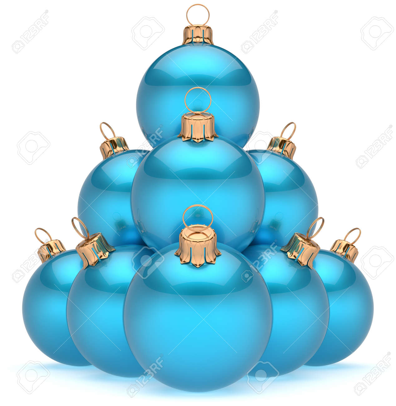 Pyramid christmas ornament - Christmas Ball Pyramid Blue New Year S Eve Baubles Group Adornment Decoration Glossy Spheres Ornament Cyan