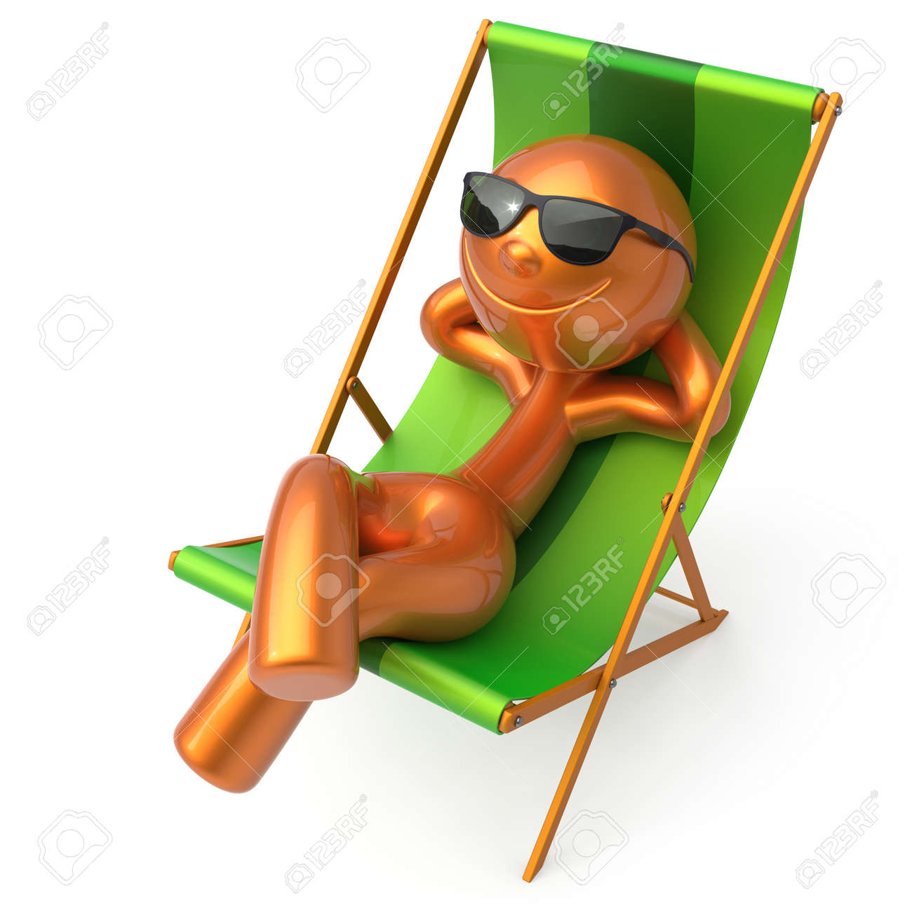 Sonnenliege clipart  Man Relaxing Beach Deck Chair Sunglasses Summer Cartoon Smiling ...