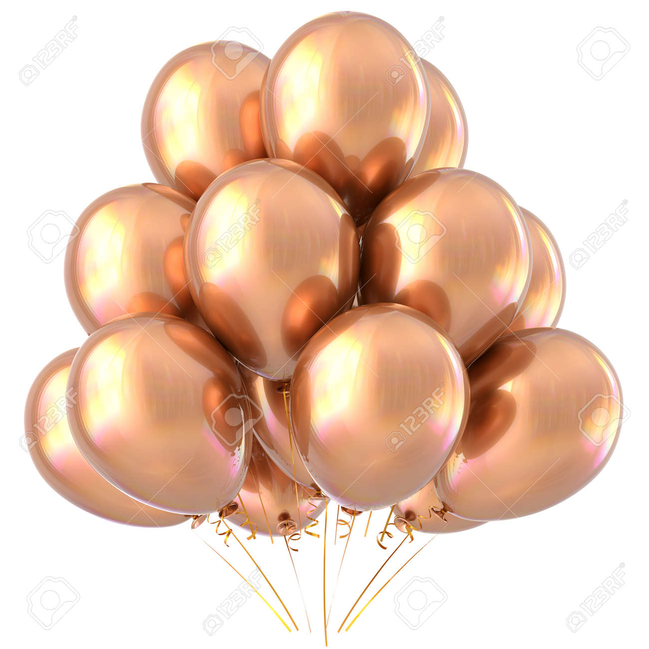 golden balloons happy birthday party decoration yellow glossy holiday anniversary celebrate new years eve xmas
