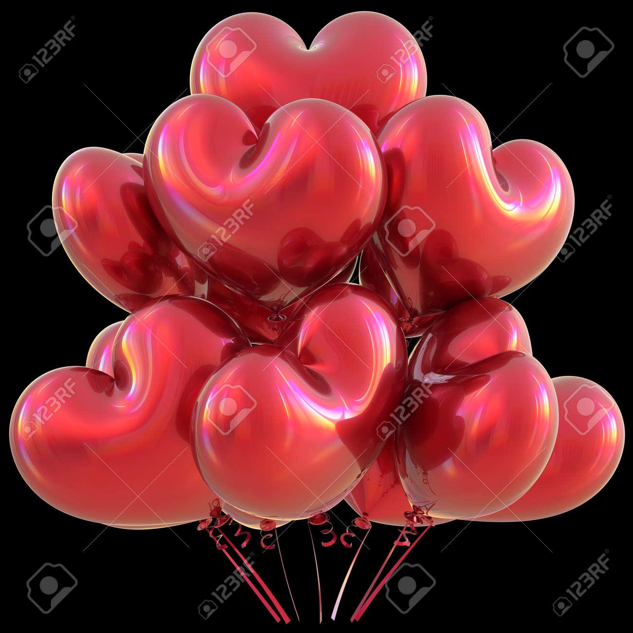 Fete Coeur Ballons Rouge Joyeux Anniversaire Amour Decoration Evenement Brillant L Anniversaire De La Fete De Saint Valentin Celebre Le Concept De Carte De Voeux Du Carnaval De Noel Illustration 3d Isolee Sur Le