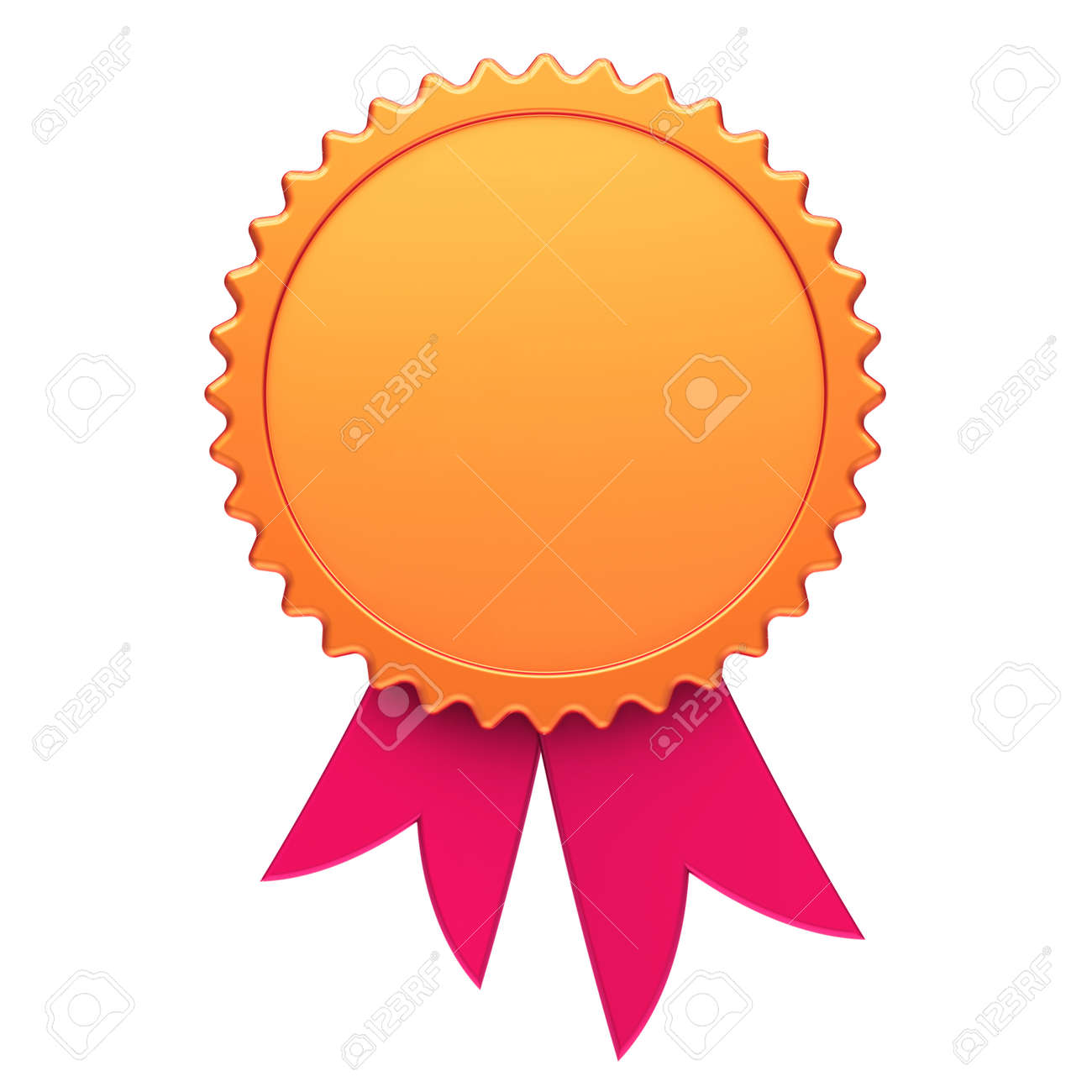award ribbon golden red reward medal rosette blank achievement