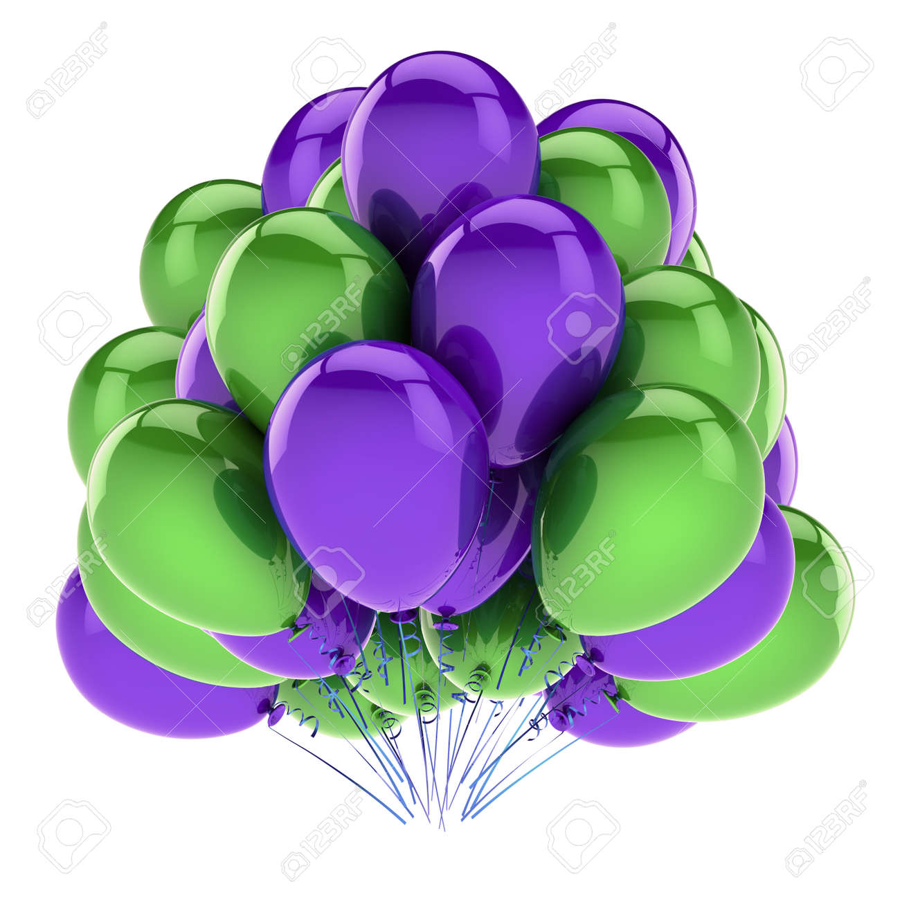 Happy Birthday Balloons Purple Green Party Decoration Carnival Celebration Symbol Colorful 3d Rendering