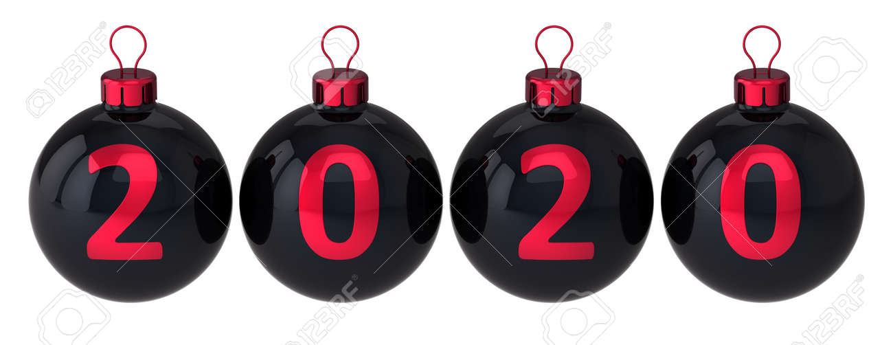 Christmas 2020 It Beginning Christmas Balls 2020 Beginning New Year Decoration Black Red