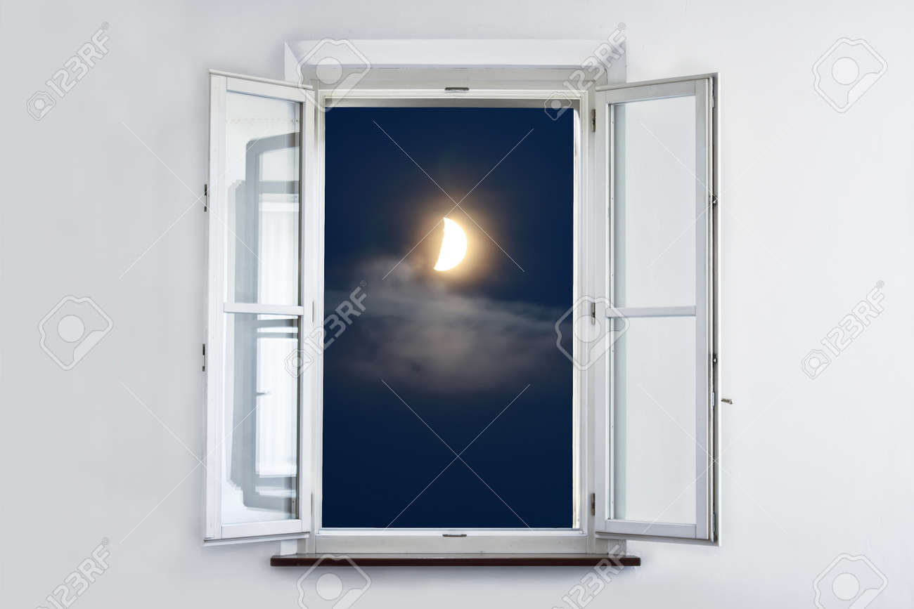 Open window at night - The Moon At Night Looking Out Open White Window Stock Photo 9739735