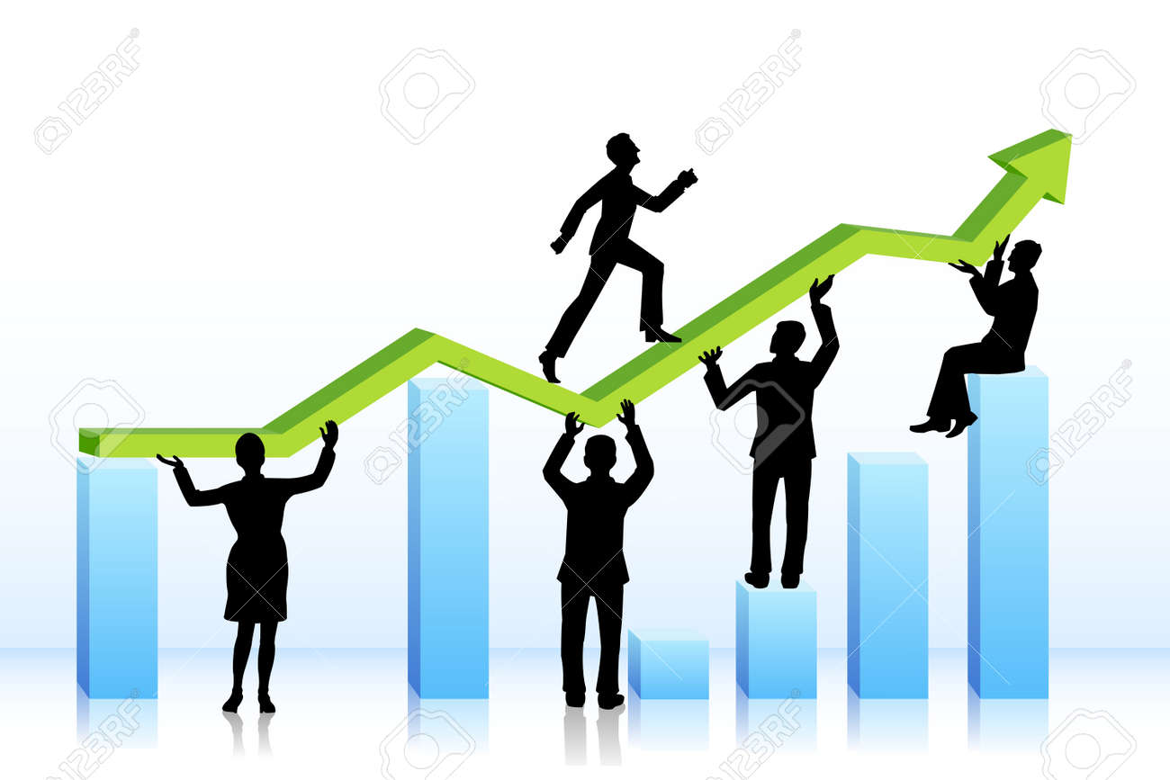 business people walking on bar graph - 18627628