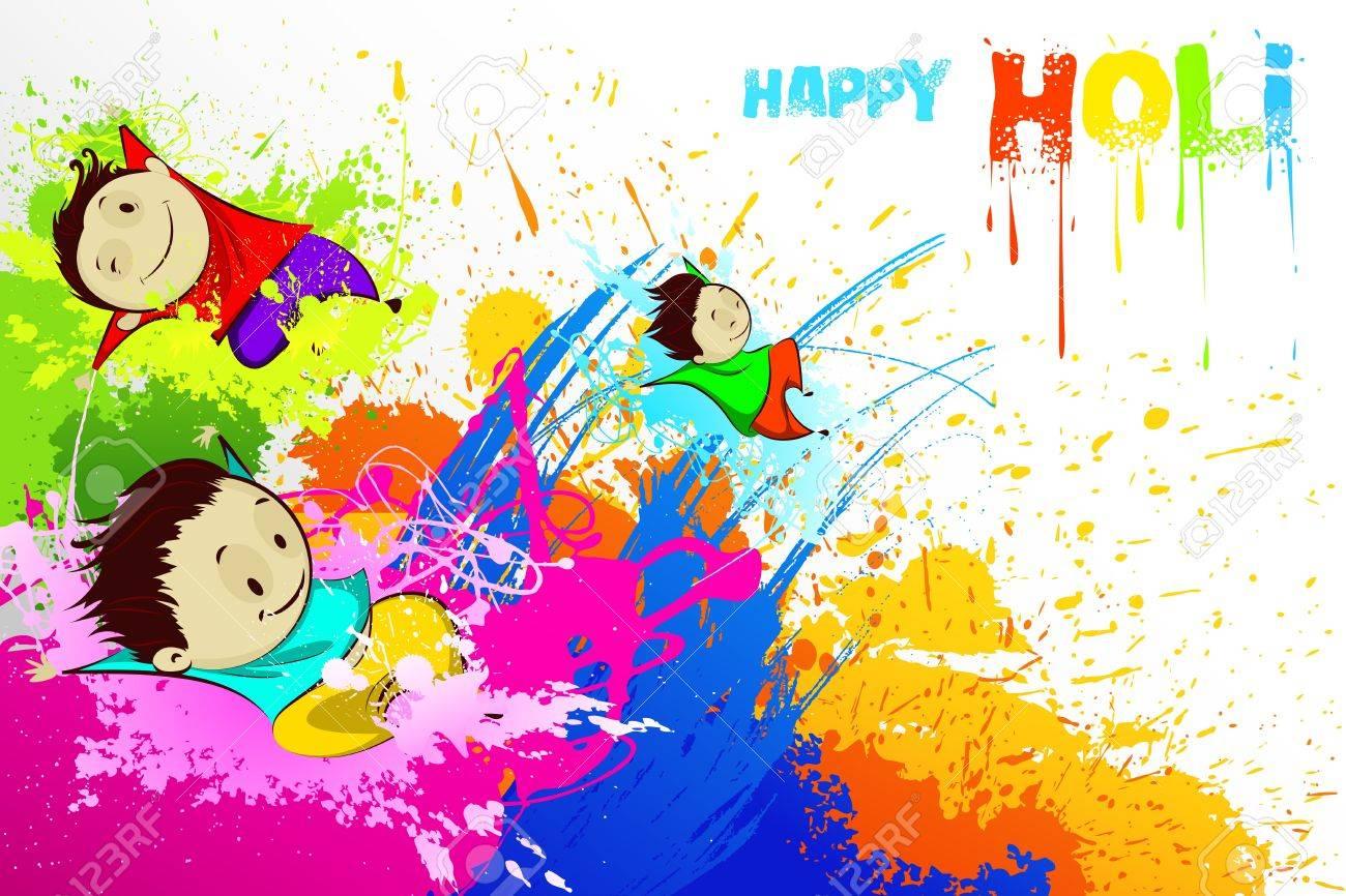 Kids enjoying Holi Stock Vector - 18627901