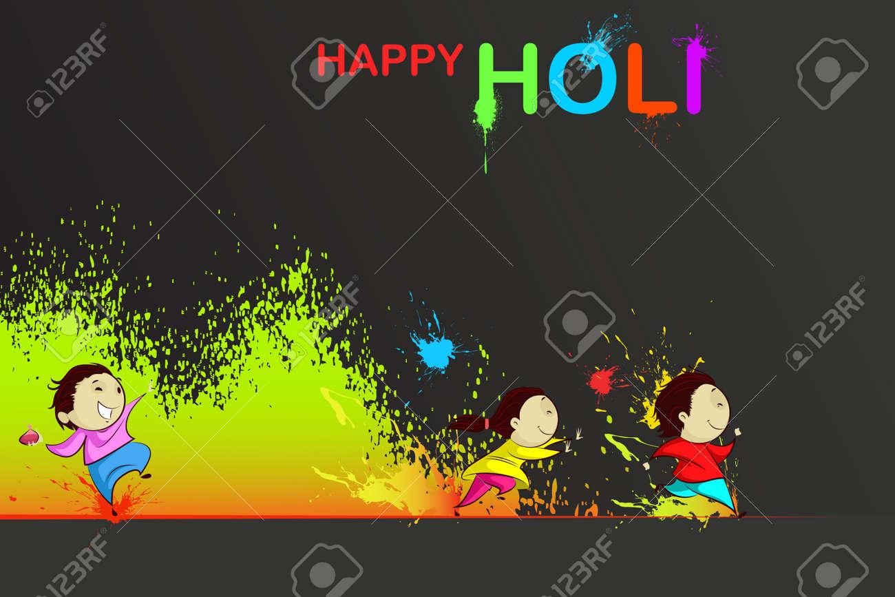 Kids enjoying Holi Stock Vector - 18955620