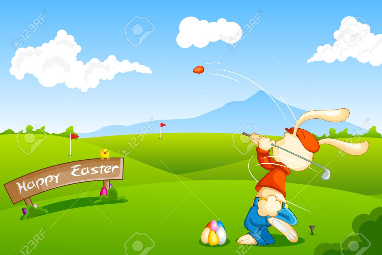 Bunny playing Golf with Easter Egg Stock Vector - 18955494