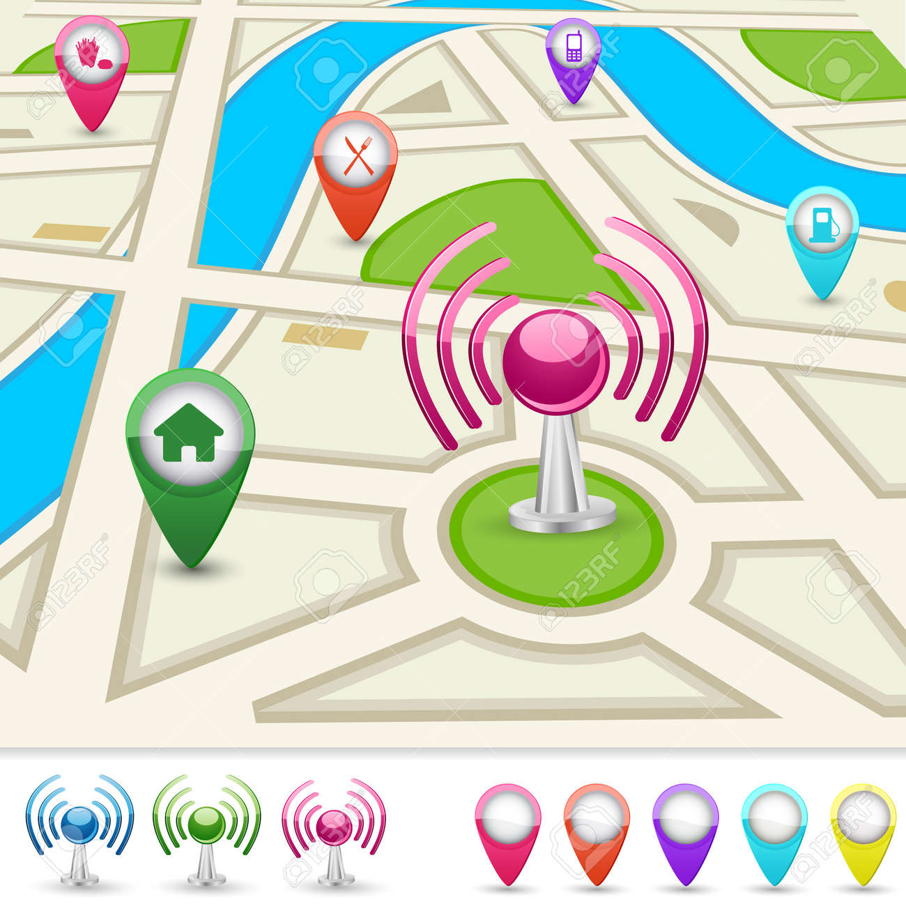 Road Map For GPS Application Royalty Free Cliparts Vectors And – Application Road Map