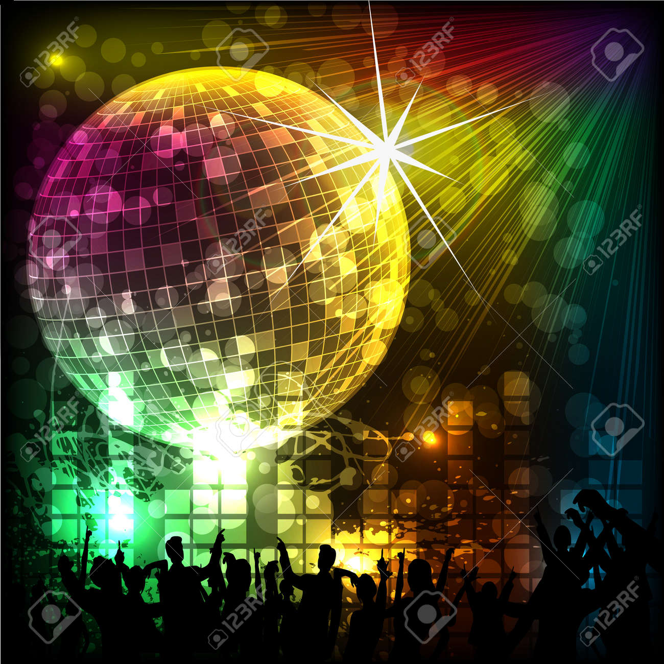 Crowd in Musical Background Stock Vector - 19114088