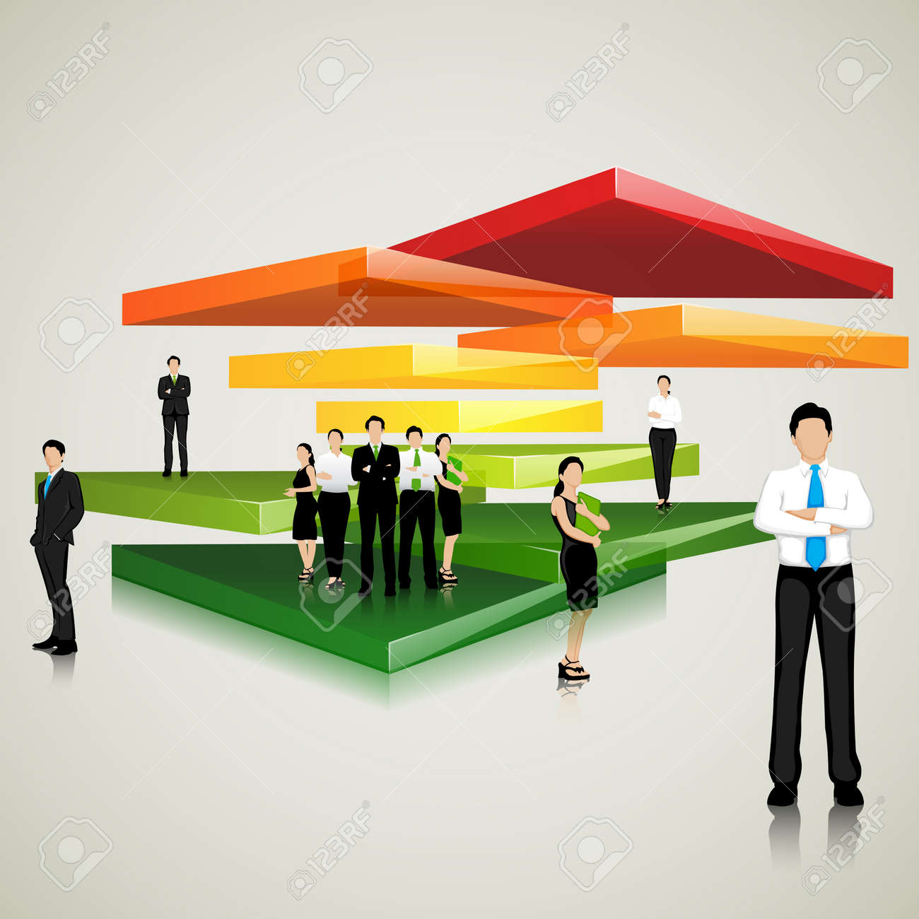 Business Team standing on Colorful Slab Stock Vector - 19157159