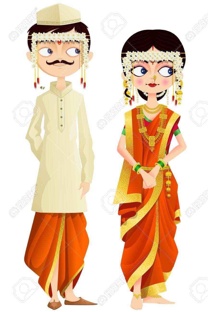 maharashtrian wedding couple royalty free cliparts vectors and rh 123rf com wedding couple clip art images wedding couple clipart images