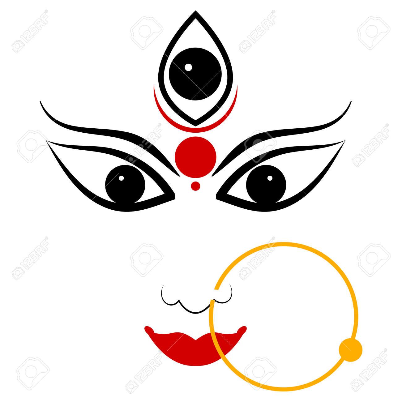 easy to edit vector illustration of Goddess Durga - 25662361