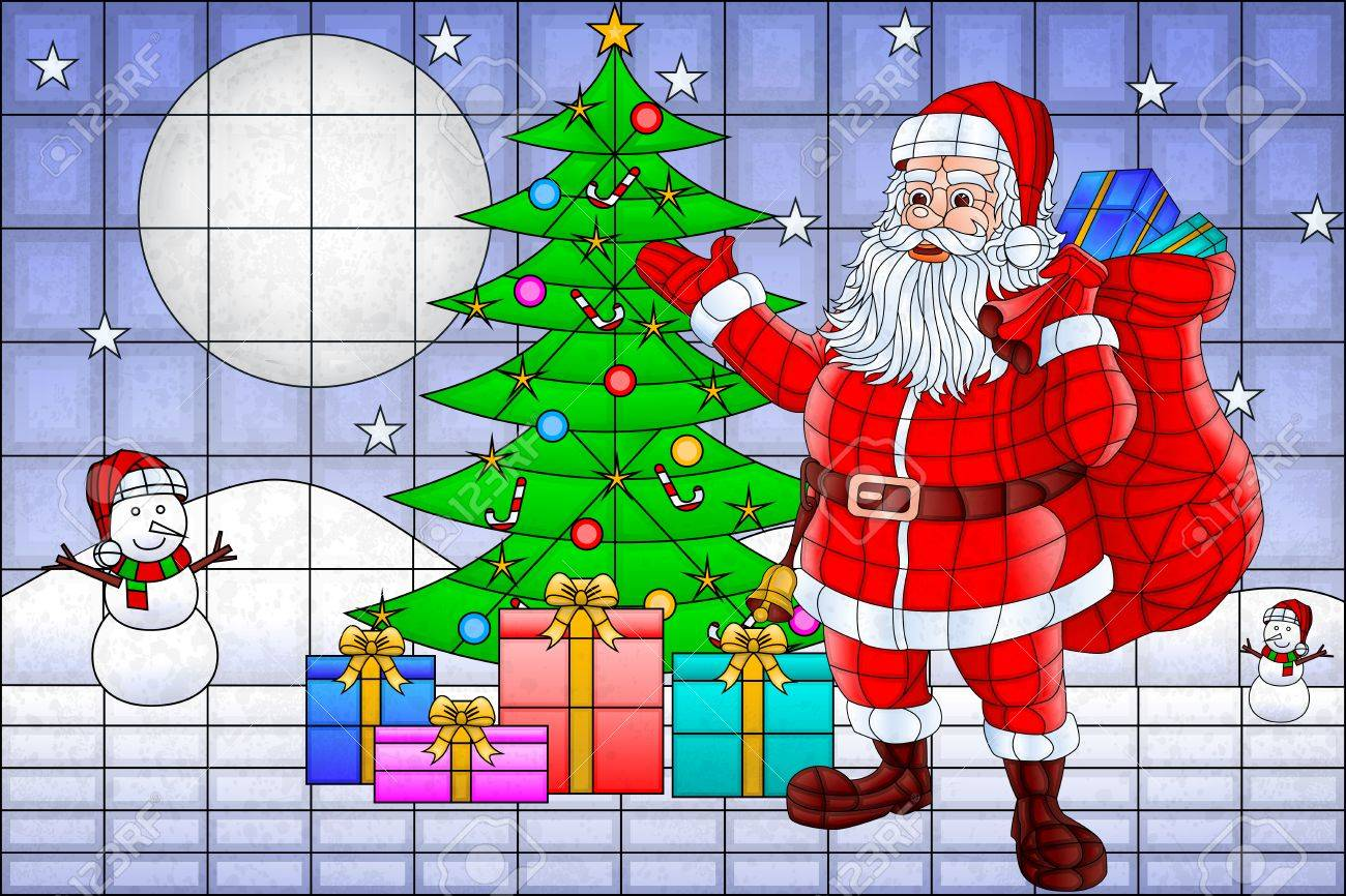Easy To Edit Vector Illustration Of Santa Claus With Christmas