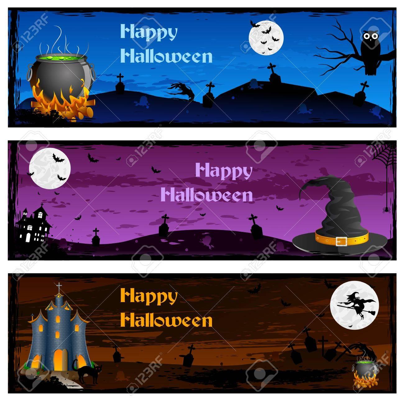 easy to edit vector illustration of halloween banner royalty free rh 123rf com Grunge Star Vector Vector Scroll